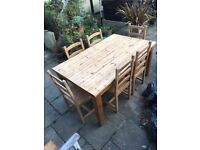 Solid Pine Dining table including 6 Beech chairs