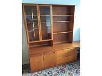 Wood cupboard with integral display cabinet