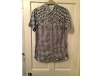 Levi's short sleeved blue and white shirt. Medium