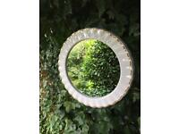 Round Rippled mirror vintage cream ceramic mirror retro mirror