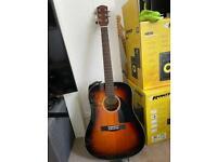 Fender cd-60 acoustic guitar & fender strap