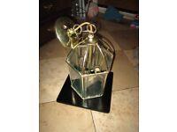 Pair of Vintage style brass lantern pendant lamp