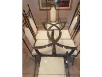 Dining table with 6 chairs also side table and coffee table