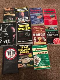 Poker table, chips in metal case,automatic card shuffler, 11poker books and 40 poker mags.