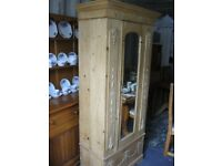 ANTIQUE STRIPPED PINE VERY ORNATE SINGLE WARDROBE. MIRRORED DOOR. BOTTOM DRAWER. VIEWING/DELIVERY