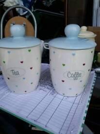 Cannisters Tea Coffee storage pots