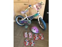"Girls Disney Frozen 16"" bike with Helmet and pads"