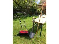 Mower, shovel, and rake