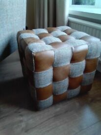 Harris Tweed And Leather Footstool NEW