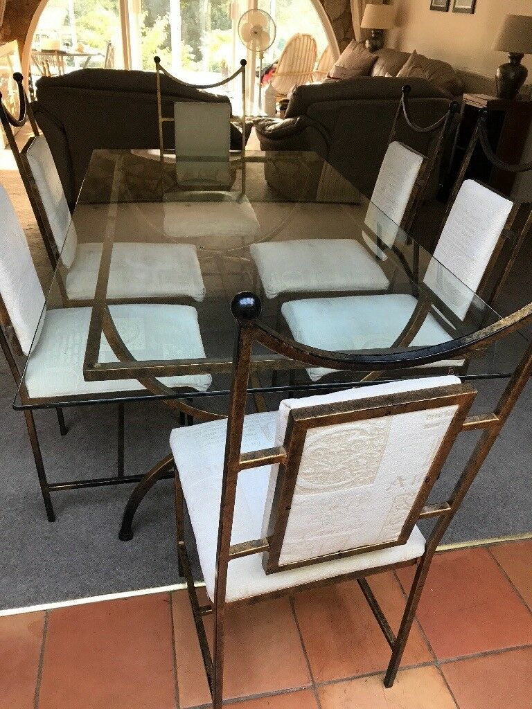Bronze Metal Glass Topped Dining Table & 6 Chairs