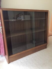 3 shelf, glass fronted book case