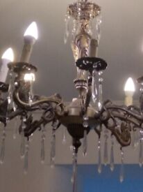 French gothic metal chandelier with crystals