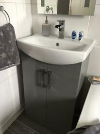 Bathroom unit sink tap and mirror with lights