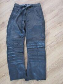 Black Leather Mens Akito Motorbike trousers