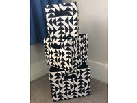 Black & White Patterned Storage Boxes, Good Condition