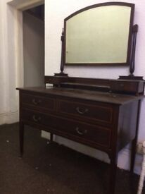 Antique dressing table with large mirror