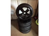 """17"""" 4x100 black alloys. No cracks in alloys and no punctures and tyres with really good tred!"""