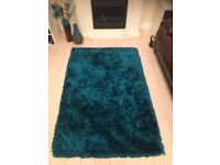 Teal / turquoise blue plush shimmer rugs x2, Dunelm rug £30 for both