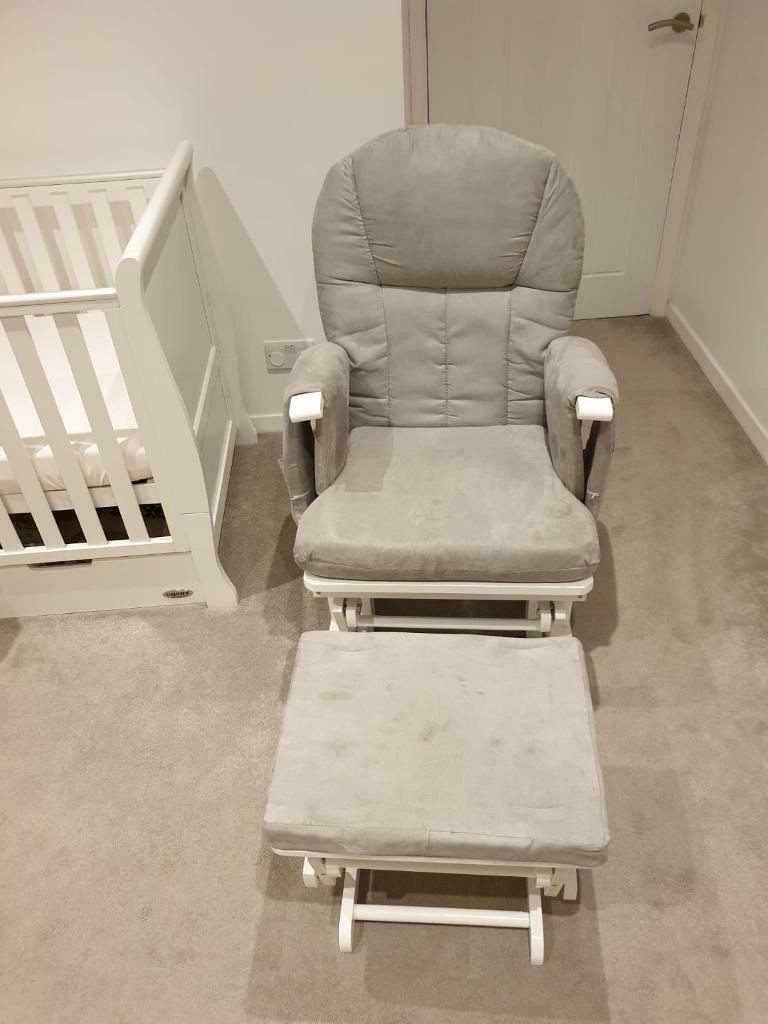 Mothercare Reclining Glider Chair White And Grey In