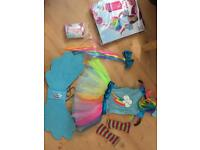 Rainbow Dash costume with brand new tights. Size 4-6. Only worn once.
