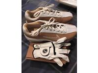 Ladies size 4 Nike golf shoes and small left hand glove