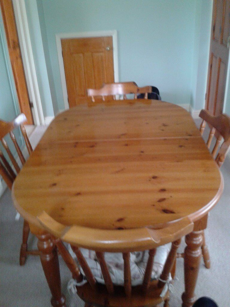 Extending Pine dining table plus 6 chairs