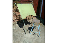 Reclaimed Vintage Retro 1960s Angula Folding Architects Drawing Board with Stool