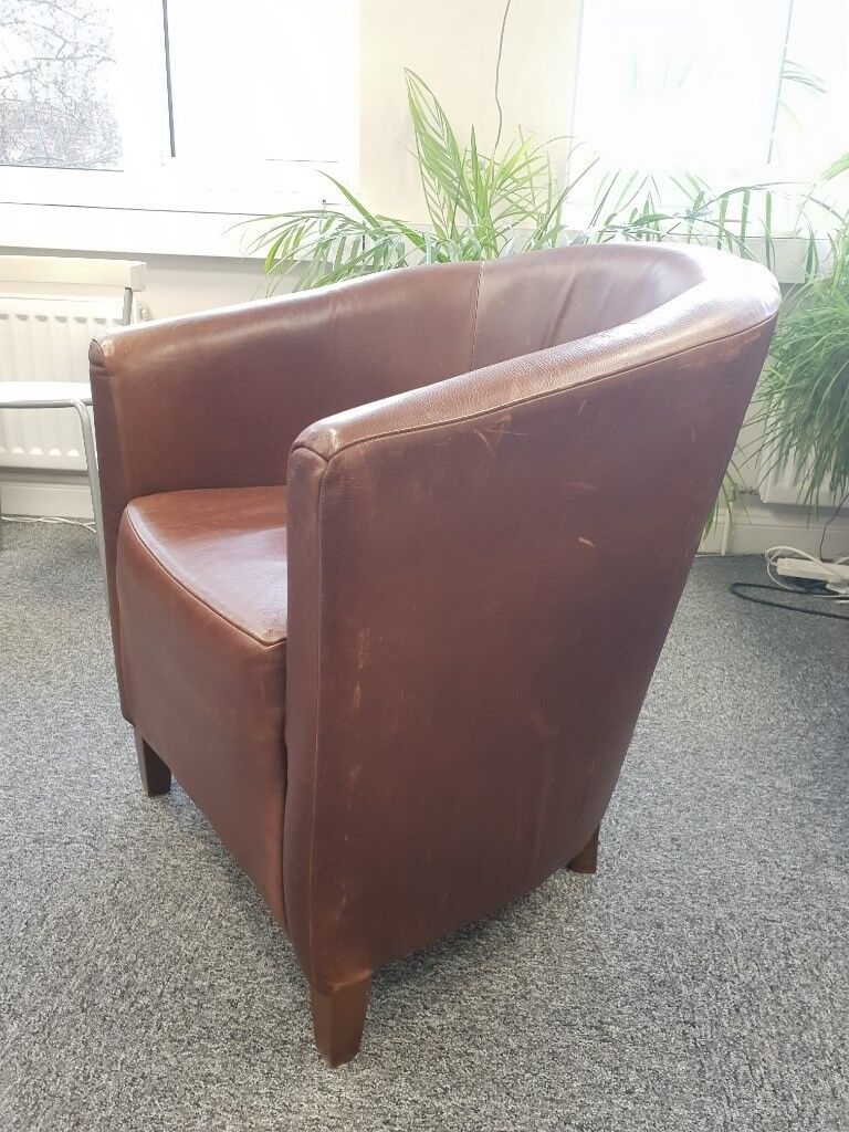 Armchair Brown Distressed Leather Look Used Made By Halo