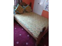 Teak wood double cot with mattress