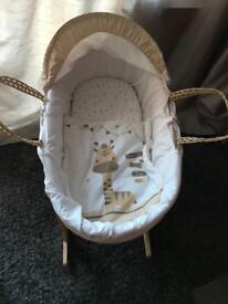 Moses basket set inc hood and trim lots of covers & stand