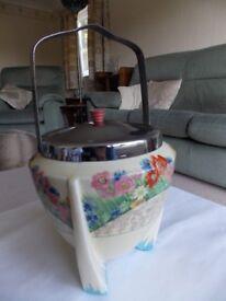 Antique Springtime Biscuit Barrel