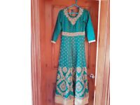 Asian emerald green dress with embroidery