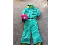 Girls 2 piece ski/snow suit (french - quality item). Free ski helmet included