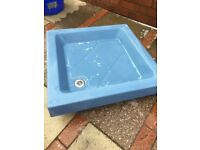 Porcelain shower tray in Alpine Blue
