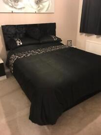 Black satin king size duvet