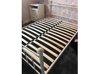 White double bed frame with double mattress included. Immaculate condition as hardly been used.