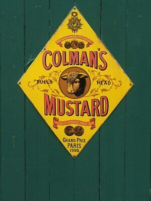 Vintage Retro Metal Colmans Mustard Kitchen Cafe Shop Advertising Door Wall Sign