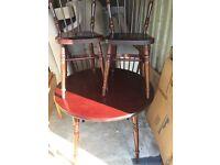 Dark wood round table /chairs £45