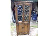 Vintage Antique Solid Oak Corner Cabinet , Leaded Glass FREE delivery
