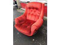 Orange/ red retro Art Deco swivel chair
