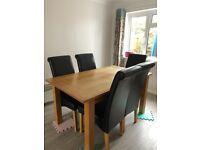 Oak effect 6 seater table