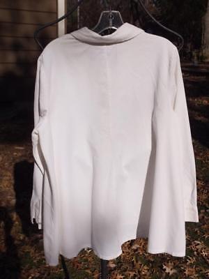 J JILL Off White Baby Wale Corduroy LS Tunic Length A-Line Style Blouse Sz L ()