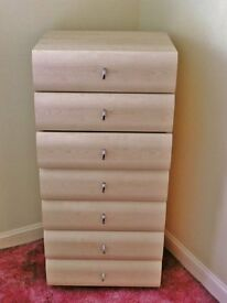 Light Pine Effect 6 Drawer Tallboy / Tall Boy Chest of Drawers Storage Unit Bedroom