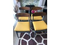 Mid century ochre upholstered butterfly back retro vintage wooden dining chairs