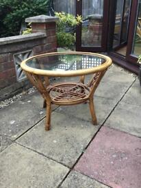 Conservatory cane and glass table