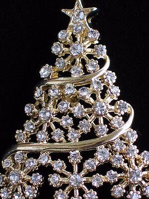 "GOLD CLEAR RHINESTONE  SNOWFLAKE CHRISTMAS TREE PIN BROOCH PENDANT JEWELRY 1.75"""