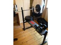 Weight bench and weight set