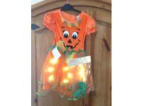 Halloween pumpkin dress costume lights up age 3-4 new