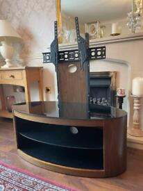 """Beautiful Walnut TV Stand With Mount for screens up to 65"""" (RRP £375)"""