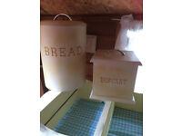 Bread bin & Biscuit Barrel solid wood in great condition.